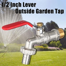 Outside Garden Tap Faucet Easy Quarter Turn Off/ On 1/2 Inch Lever Home Garden Water Supply Manual Long Handle Faucet Durable