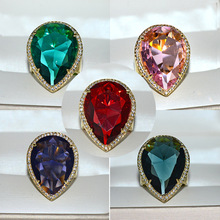Big Water Drop Zircon Stone Purple Pink Red Green Gold Ring for Women Wedding Engagement Fashion Jewelry 2019 New