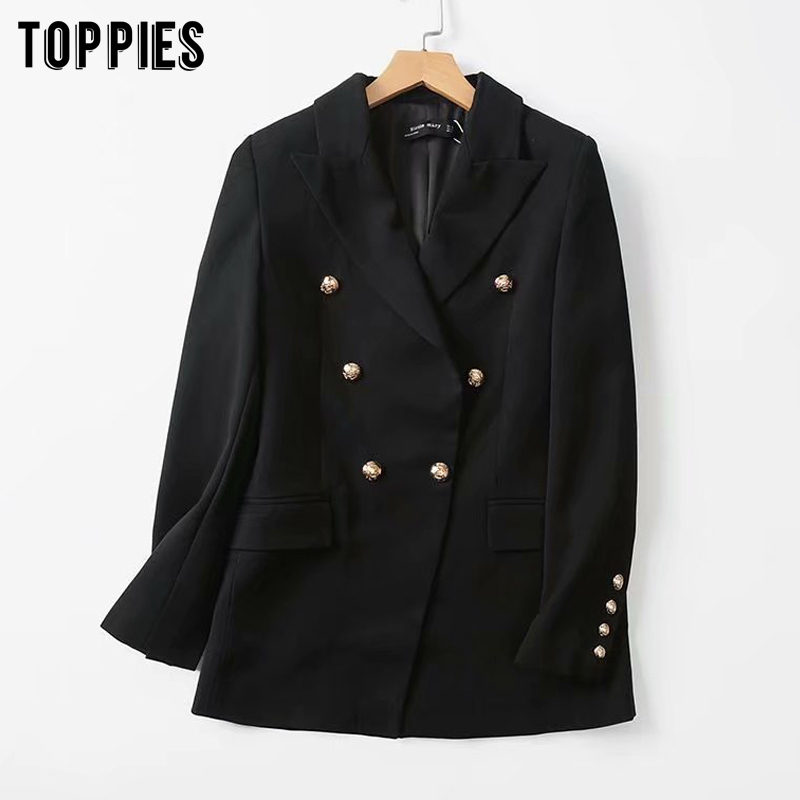 Black Blazer For Women Double Breasted Coat Gold Button Suit Jacket Ladies Formal Work Blazer