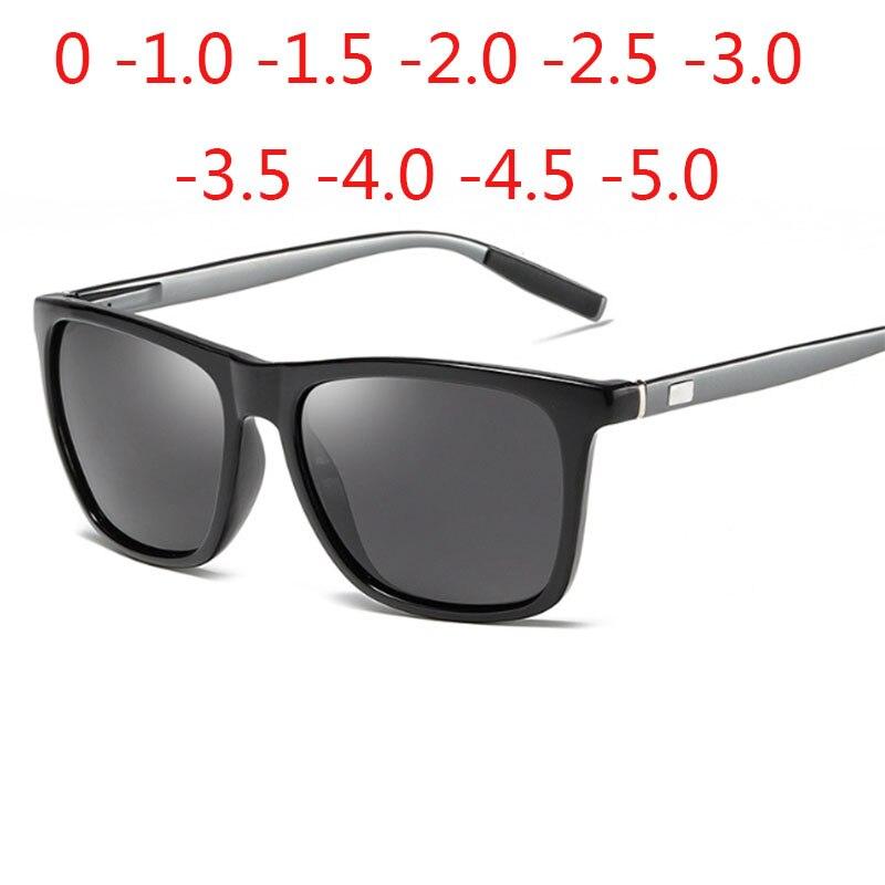Fashion Polarized Sunglasses Men Women Aluminum Magnesium Driver Square  Prescription Sunglasses 0 -0.5 -1.0 -2.0 To -5.0