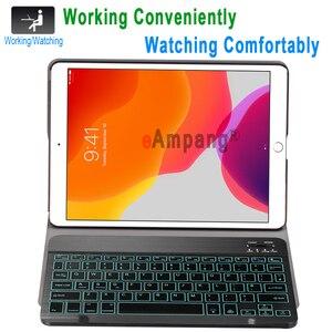 Image 2 - Чехол с клавиатурой для iPad 10,2, 7 цветов, с подсветкой, 3,0, Bluetooth, чехол для Apple iPad 7, 7 го поколения, A2200, A2198, A2197