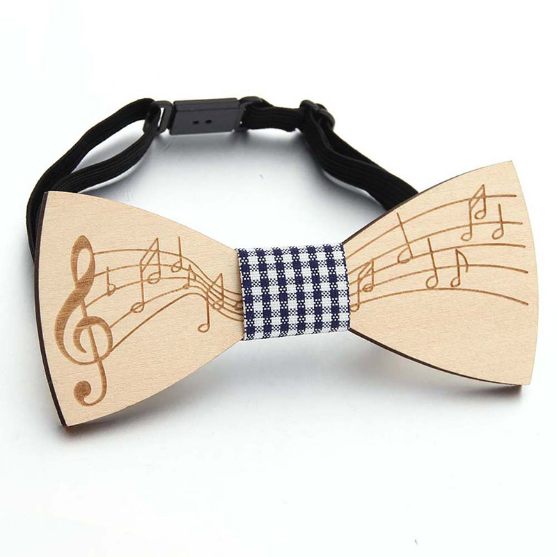 Fashion Wood Bowtie Gentleman Bow Ties Slim Handmade Note Pattern Bow Ties Cravate Homme Butterfly Wooden Unique Ties For Men