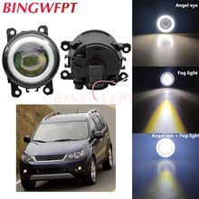 2pcs NEW Car styling Angel Eyes front bumper LED fog Lights with len For Mitsubishi Outlander II CW_W 2006-2012
