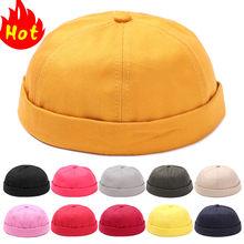 Шапка без козырька для мужчин и женщин, облегающая хлопковая шапка, шапка, красная маленькая Молодежная черная летняя шапка без козырька, мо...