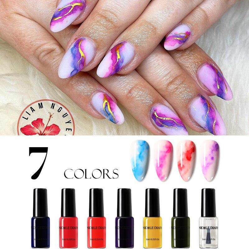 Николь дневник 1 бутылка цветные акварельные краски Лак для ногтей цветущий, сделай сам, Гель-лак для ногтей, украшения салон эффект дыма пуз...