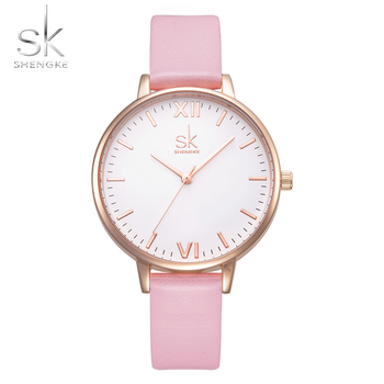 Shengke Top Brand Fashion Women Watches Elegant Marble Simple SK Women's Watches Pink Leather Clock Reloj Mujer image