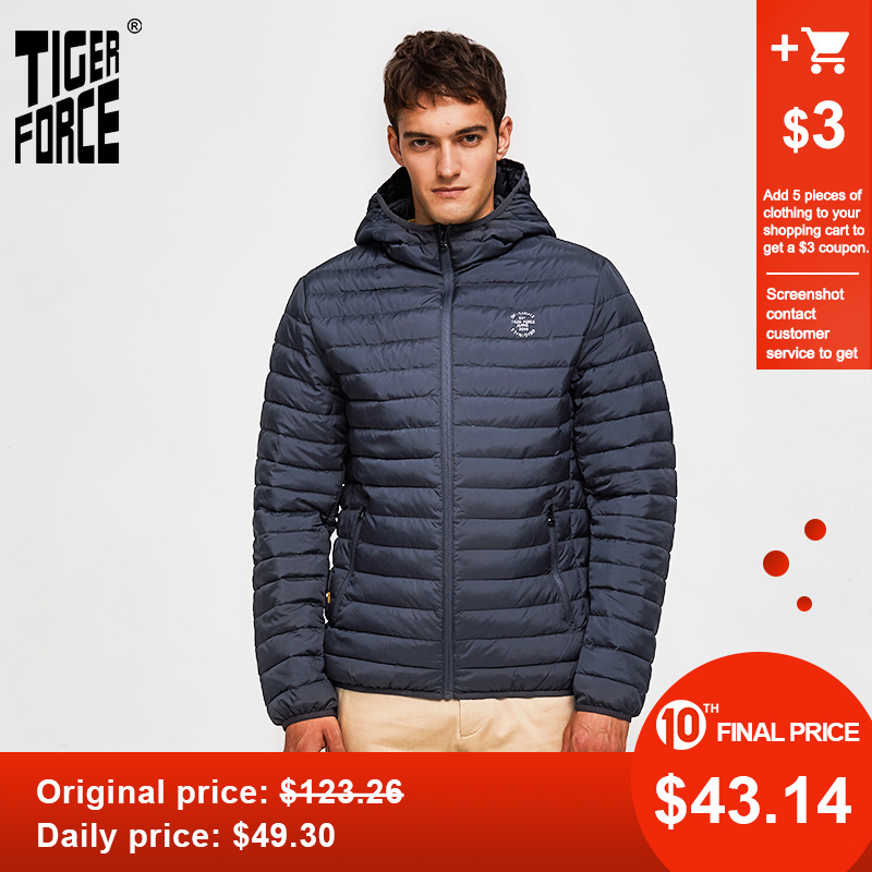 Tiger Force 2020 Men Fashion Parka Jacket Men's Solid Thick Jackets Male Hooded Puffy Coat Casual High Quality Outerwear Clothes