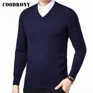 Image 2 - COODRONY Brand Sweater Men Autumn Winter Thick Warm Pull Homme Classic Casual V Neck Pullover Men Cashmere Woolen Knitwear 91110