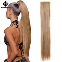 Very Long Straight Ponytail Hairpiece 65cm Female Clip Hair Tail False Hair With Hairpins Synthetic Hair Extensions