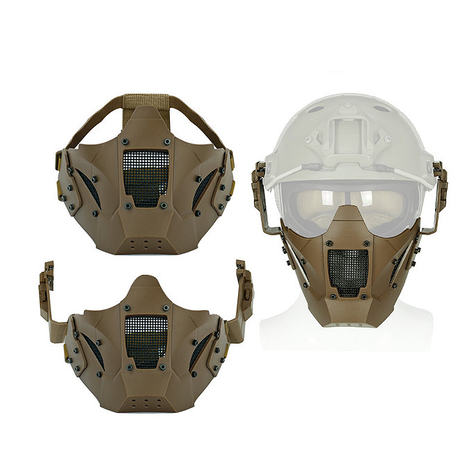 Brown New Airsoft Iron Warrior Half Face Mask Cs Sling Use With Fast Helmet Protect Cycling