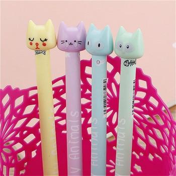 1piece New Kawaii Rainbow Cat Gel Pen Colorful Creative Cartoon Ink Black Tools Student Writing Office Stationery 1