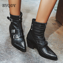 BYQDY Woman Boots Ankle Short Pointed Toe Thick Heeled Winter Booties Women Zipper Motorcycle Black Autumn