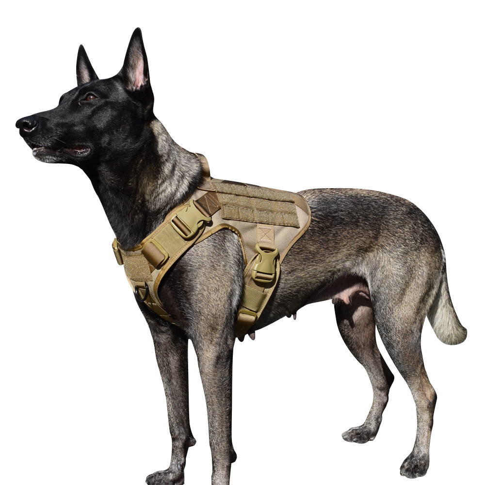 MXSLEUT Tactical Molle K9 Harness With Handle K9 Vest Working Service Dog Vest Tactical Dog Vest With Front Clip Leash