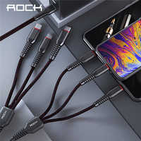 ROCK haute résistance en métal tressé 6 en 1 câble de Charge 2M Type d'éclairage C Micro câble de Charge rapide pour iPhone X 8 7 6 Xiaomi Samsung