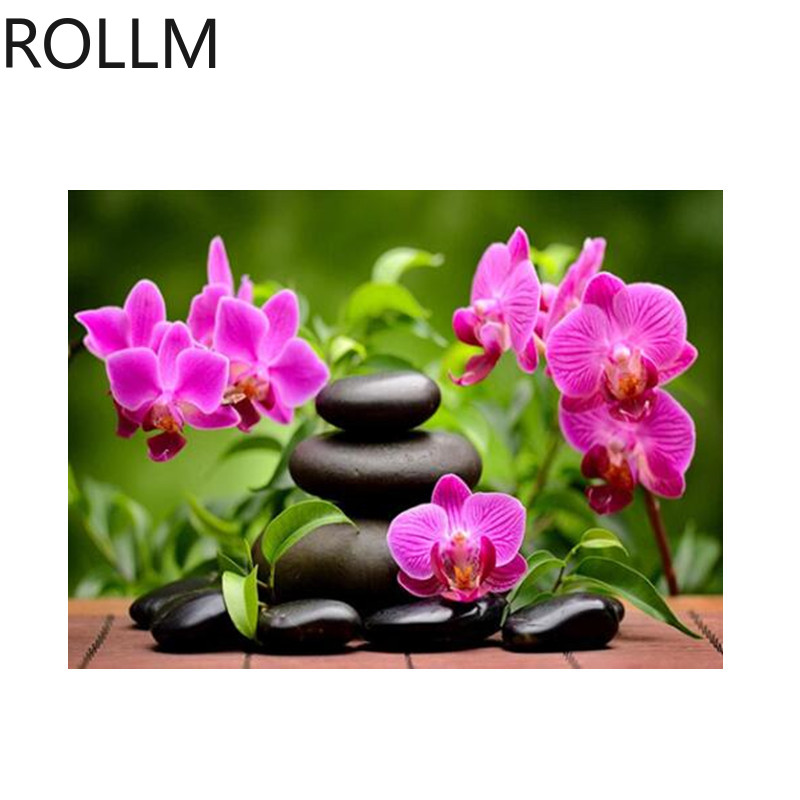 ROLLM Hot Sale Diy Diamond Painting Flowers Full Square Drill DIY Embroidery Photo of Rhinestones