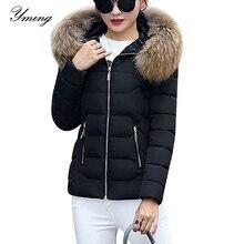 Blouson dhiver pour femme, manteau chaud à la mode avec col en fourrure de coton épais avec capuche, vêtements dhiver détachables
