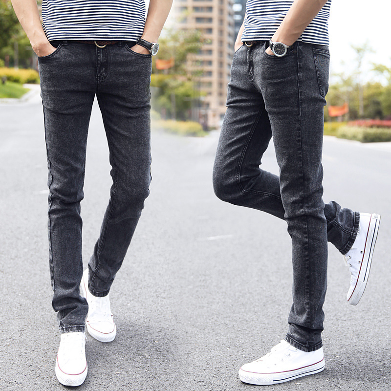 Adolescents Gray Jeans Male Students Slim-Fit Feet Stretch Snowflake Pencil Pants-Agent