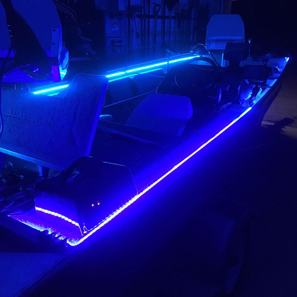 1x 16FT MARINE BOAT BLUE IP67 WATERPROOF LED STRIP LIGHTS Kayak Boat Fishing LED Light Kit Cool White Warm White Blue RGB