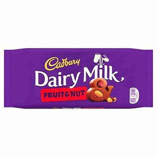 Cadbury Barres De Chocolat Au Lait Aux Fruits Et Aux Noisettes 200 G