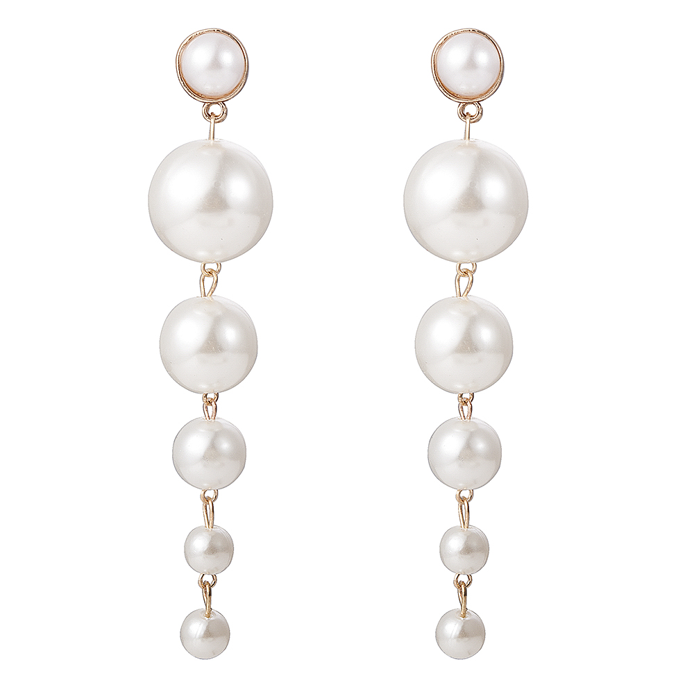New Trendy Elegant Created Big Simulated Pearl Long Earrings Pearls String Statement Drop Earrings For Wedding Party Gift 5