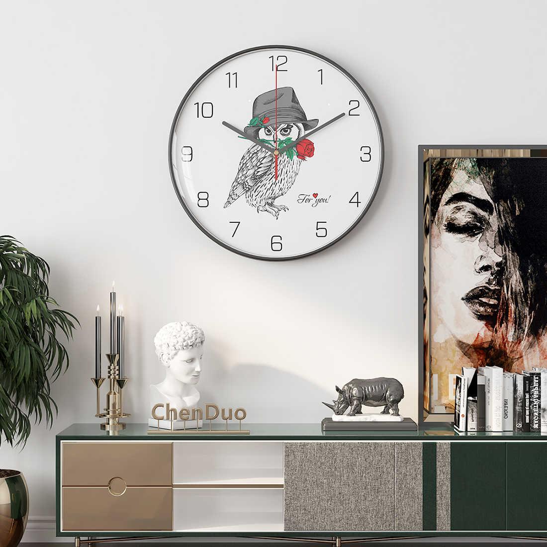 12 นิ้ว 30 ซม.สัตว์รูปแบบเงียบแขวนนาฬิกาผนังตกแต่งกรอบโลหะสีดำ-นกฮูก /ลูกสุนัขบางประเภท