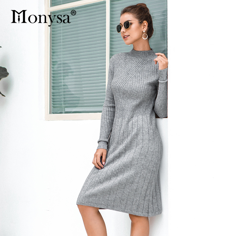 Casual Knitted Sweater Dresses Women New Arrival 2019 Autumn Long Sleeve Dress Ladies Knee Length Dress Winter Clothes 38