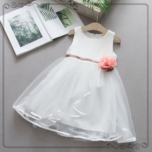 Fashion Baby Girls Dresses Summer Cotton White Pink Blue Solid Belt With Floral Sleeveless O-neck Infant Clothing Mesh Dress 40