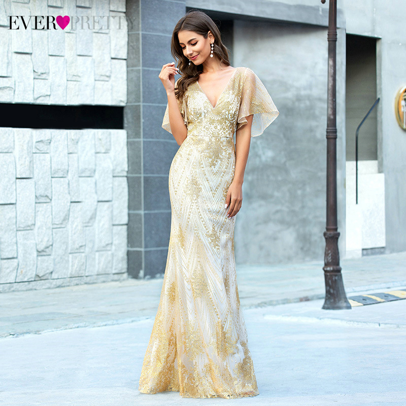 Sexy Rose Gold Prom Dresses Ever Pretty EP00610RG Sequined Deep V-Neck Ruffles Sleeve Sparkle Mermaid Party Gowns Vestidos 2020