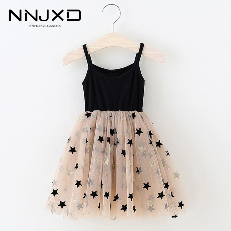 3-8 Years Summer Girls Clothes Kids Dresses For Girls Casual Wear Bling Star Sling Dress Baby Girl Party Children Clothing 1