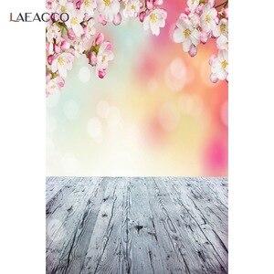Image 4 - Laeacco אביב דיוקן תפאורות פרחי פריחת דשא אור Bokeh עץ רצפת תינוק יילוד צילום רקע Photozone