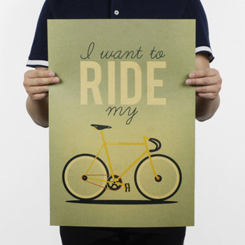AIMEER I want to ride my bicycle bicycle nostalgic retro kraft paper poster home office decoration painting core 51*36cm image