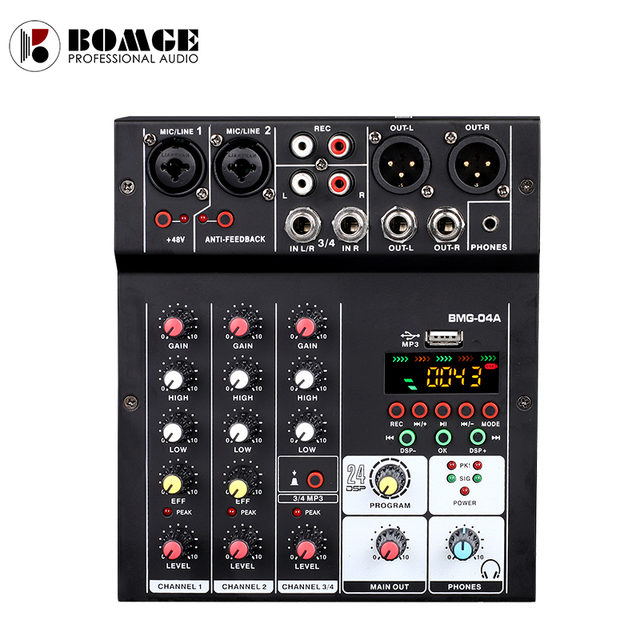 BMG-04A Sound Audio-Mixer Mixing Console 4 channel Audio Interface 24 kinds DSP Effects / 48V Phantom Power USB Bluetooth MP3