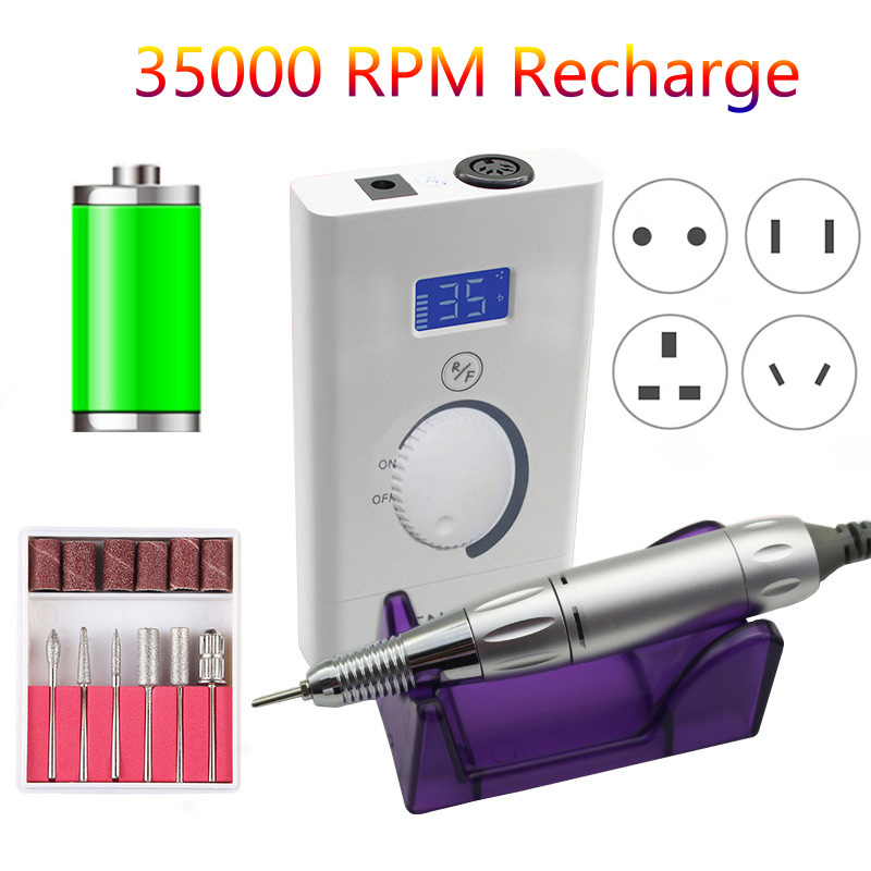 LCD 35000 RPM Portable Electric Nail Drill Machine Rechargeable 6000mAh Manicure Pedicure Set Strong Nail Drill Equipment Files