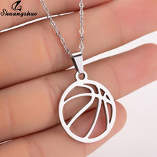 Shuangshuo Stainless Steel Volleyball Necklaces for Women Men Sports Jewelry Geometric Round Ball Charm Pendants Chokers Collier(China)
