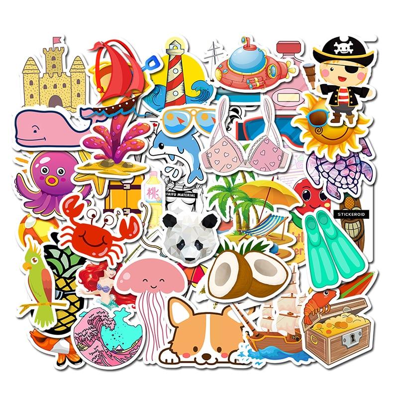 50pcs Anime Lovely Fresh Casual Style Cartoon Sticker Waterproof Suitcase DIY Laptop Guitar Skateboard Toy Lovely Stickers