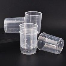 1/5 pces 100ml plástico graduado copo de medição recipiente líquido resina cola epoxy silicone que faz a ferramenta transparente copo de mistura