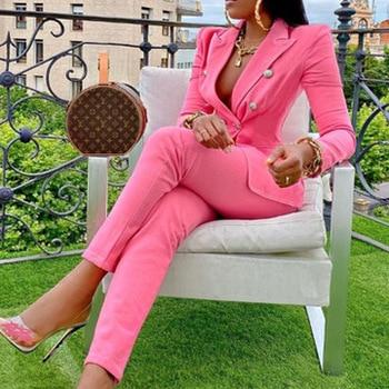 Elegant two-pieces women blazer suit Casual streetwear suits female blazer set Chic office ladies women coat suit 1