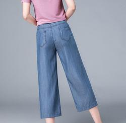 2020 Летние Новые повседневные широкие брюки прямые укороченные джинсы с высокой талией женские брюки размера плюс K3729-01-05