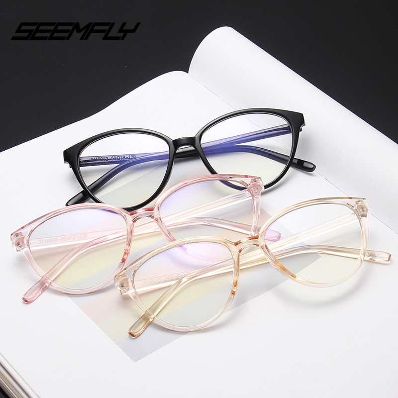 SEEMFLY New Transparent Glasses Frames  Men Women Eyeglasses Frame Vintage Round Clear Lens Glasses Optical Ladies Retro Eyewear