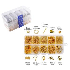 970Pcs Jewelry Making Sets Jump Rings Eye Pins Lobster Clasp Charm Connectors Earring Hooks For DIY Jewelry Making Supplies Kits