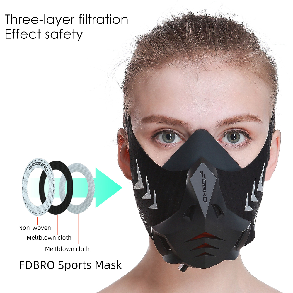FDBRO New Sports Training Running Mask Pro Fitness Gym Workout Cycling Elevation High Altitude Training Conditioning Sport Masks