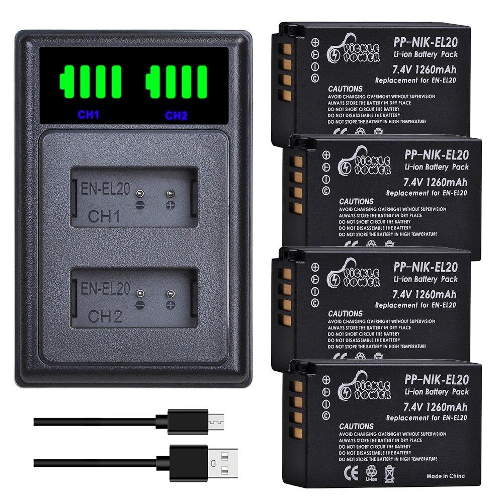 EN-EL20 Batterie 1260mAh EN EL20 EN EL20a Kit de Chargeur de Batterie pour Nikon Coolpix P1000 Nikon1 J1 J2 J3 Nikon 1 S1 1 V3 Nikon1 AW1
