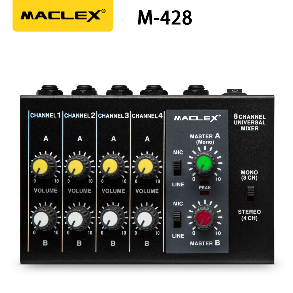 Maclex M428 Ultra-compact Low Noise 8 Channels Metal Mono Stereo Audio Sound Mixer With Power Adapter Cable Free Shipping
