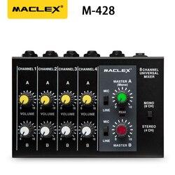 Maclex m428 ultra-compacto de baixo nível de ruído 8 canais de metal mono estéreo som mixer com adaptador de energia cabo frete grátis