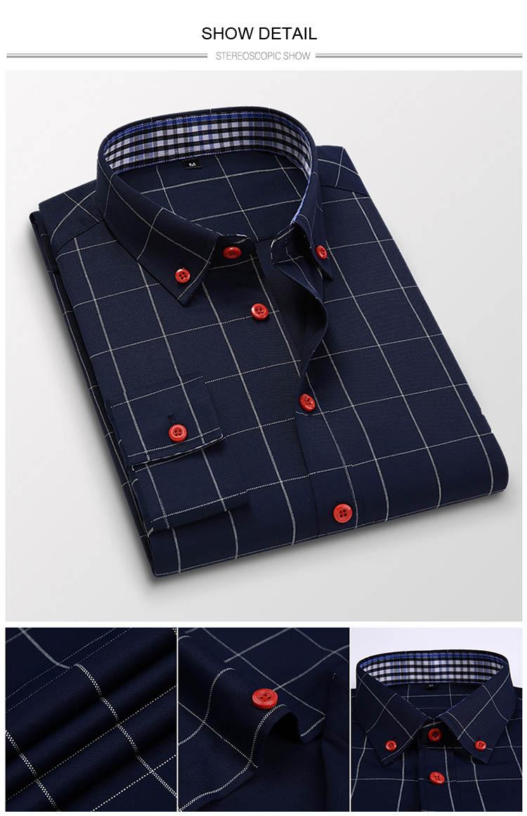 H9ea4d2158ca74fd286d07a0ab1e061d1V Handsome Fashion Men Shirts Casual Long Sleeved Plaid Shirt Regular Fit Male Blouse 4XL 5XL