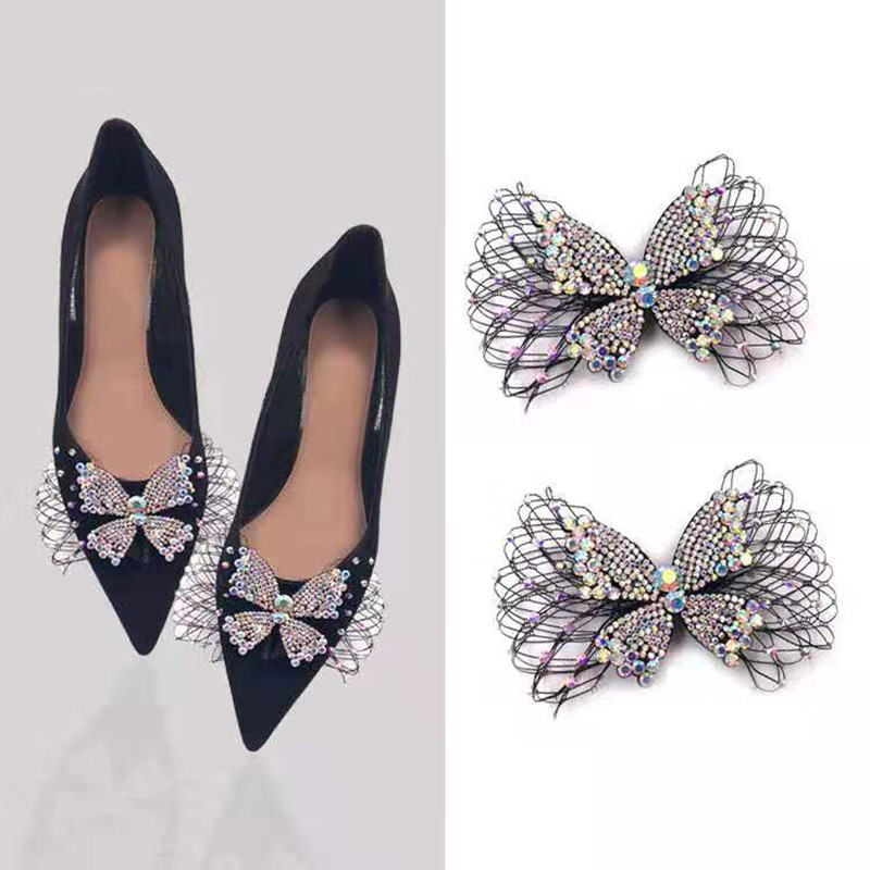 1pair Fashion Jewelry Mesh Crystal Bowknot Luxury DIY Manual Rhinestone Women Shoe Decorations For High Heel Sandals Boots Flats