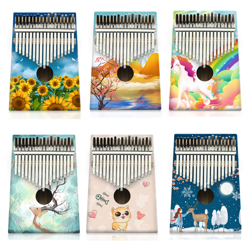 KERUS Colour Kalimba  17 Keys   Wood Portable  Finger Piano Piano Beginners Professional Painted Instrument Easy To Learn