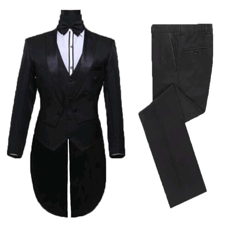 Uzun ceket smokin erkek takım elbise düğün yemeği takım elbise en iyi erkek giyim özel yapılmış Peaky Blinders üç adet (ceket + pantolon + yelek)