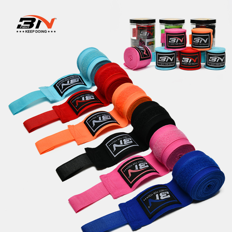 BN One Pair 5m*5cm Boxing Wraps Cotton Sports Strap Boxing Gloves Bandage Stretchy Muay Thai MMA Taekwondo Training Hand Wraps