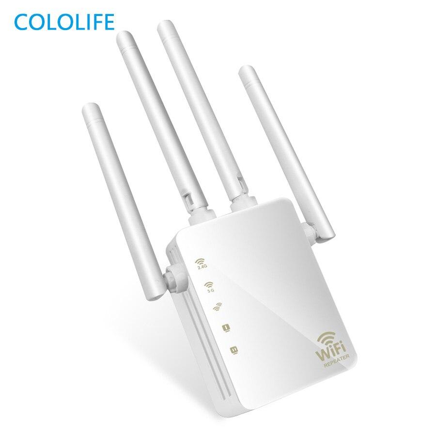 1200 mbps banda dupla ac sem fio 2.4g/5g wifi repetidor 4 antenas altas ponte amplificador de sinal com fio roteador wi fi ponto acesso